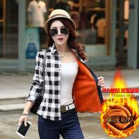 秋冬女装新款弹力加绒格子衬衫女长袖韩版修身加厚保暖打底衫上衣 2X