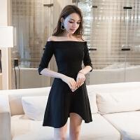 2018新款上新个性气质时尚女装春装黑色显瘦五分袖不规则夜店性感露肩一字肩连衣裙 黑色
