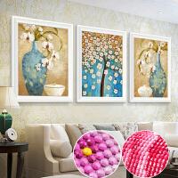 钻石画三联画5D圆钻欧式花瓶点钻十字绣客厅贴钻卧室钻石绣砖石画