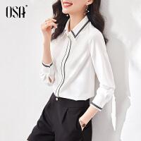 【2件3折到手价:159】OSA白色职业雪纺衬衫女士衬衣设计感小众春装2021年新款长袖上衣