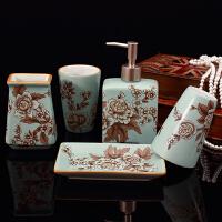 美式陶瓷卫浴五件套装牙具濑口杯肥皂盒浴室洗漱用品摆件结婚礼品