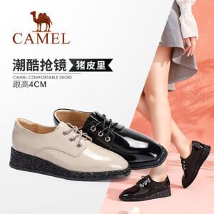 【满299减200元】camel骆驼女鞋新款秋系带厚底女单鞋网红同款时尚街拍休闲鞋女潮鞋