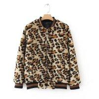女装秋冬欧美时尚立领长袖豹纹色毛毛夹克女棒球服外套