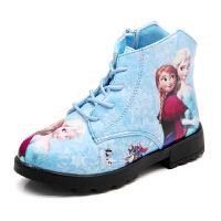 17秋新款女童皮鞋短靴冰雪奇缘雪地靴棉鞋加厚保暖中大童时装靴