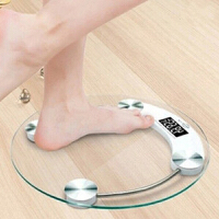 普润 26cm钢化玻璃电子称 圆形玻璃称电子称体重秤圆形人体秤