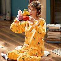 女士珊瑚绒睡衣冬天加厚保暖长袖女秋冬法兰绒学生甜美家居服套装