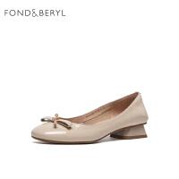 【减后价:359元】FONDBERYL单鞋圆头方跟套脚女鞋FB11111023