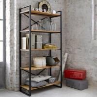 幸阁 铁艺多层纯实木书架置物架 仿古做旧壁挂柜