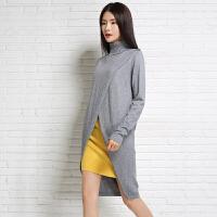2018新款女韩版高领中长款纯羊绒衫前开叉长袖针织衫连衣裙