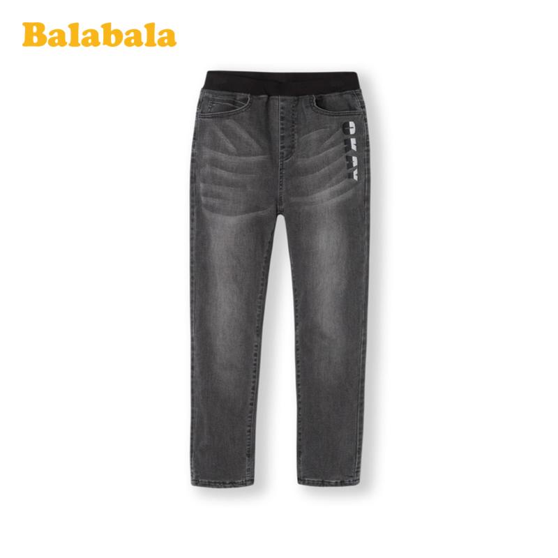 巴拉巴拉童装男童裤子儿童长裤秋冬中大童加绒牛仔裤加厚韩版洋气
