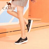 camel骆驼女鞋2019春季新款平底单鞋女圆头平跟休闲鞋豹纹真皮小白鞋女