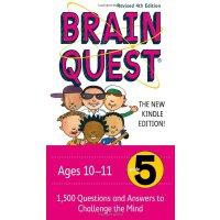 英文原版 Brain Quest Grade 5少儿智力开发大脑任务练习册 五年级 亲子问答字卡 美国学前全科练习