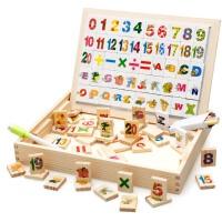 磁性拼拼乐拼图木制画板黑板儿童益智力女孩男宝宝积木玩具 多功能学习盒