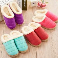 女拖鞋棉拖鞋防滑毛毛绒半包跟鞋保暖厚底居家鞋月子鞋