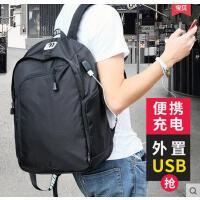 韩版休闲旅行背包双肩电脑包双肩包男士高中大学生书包男时尚潮流
