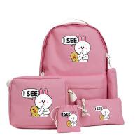 新款帆布双肩包 中小学生韩版学院风书包女 子母五件套旅行背包