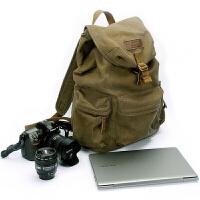 双肩帆布摄影包 适用于佳能尼康索尼单反相机防盗背包 f2003
