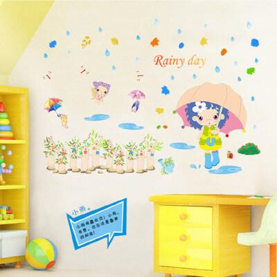 可移除卧室床头客厅沙发墙贴纸温馨浪漫墙壁贴画家饰可爱女孩