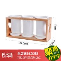 筷子筒日式陶瓷筷子筒三连竹架沥水筷笼厨房家用多功能 单款