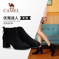 Camel/骆驼冬季新款 粗跟时尚气质优雅简约英伦风拉链女靴