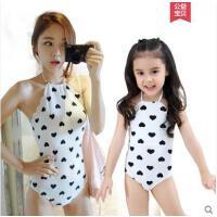 户外休闲温泉泳衣女母女连体裙式显瘦韩国可爱儿童女宝宝泳装亲子游泳衣透气