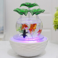 手绘陶瓷鱼缸大号鱼缸客厅小型桌面迷你懒人金鱼缸超白玻璃陶瓷创意水族箱生态造景