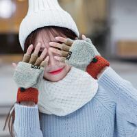 手套女冬可爱学生半指翻盖两用手套写字手套毛线手套针织手套 均码