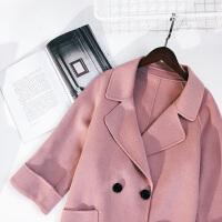 欧美秋装新款双排扣大翻领系羊毛双面呢大衣外套女潮