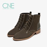 【顺丰包邮,大牌价:339】CNE2019秋冬款圆头舒适中跟瘦瘦靴系带马丁靴女短靴9T28802