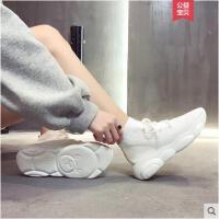 韩版学生百搭飞织袜子鞋网红小熊老爹鞋女新款平底高帮运动鞋