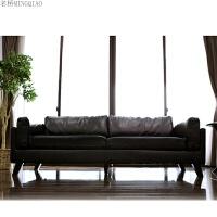 办公沙发时尚简约休闲会客区一二三人位皮质沙发办公室茶几组合