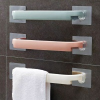 2个装浴室毛巾架粘贴免打孔厨房单杆抹布挂架卫生间加厚毛巾杆置物架子