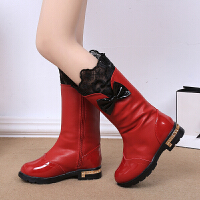 女童靴子真皮短靴中高筒马丁靴季雪地靴棉鞋韩版公主鞋童鞋 酒红色 27