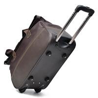 拉杆包女手提拖包带轮子的旅行包行李袋大容量牛津布韩版学生折叠轻便男旅游箱 深棕色 袋身牛津布底啡色