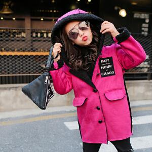 百槿 冬季女童连帽卡通小熊鹿皮绒外套