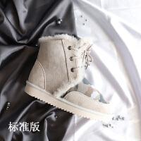 2018新款冬季雪地靴女短筒皮毛一�w�n版系��男女�W生�仍龈唏R丁靴