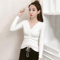 针织衫 女士V领抽绳修身长袖针织衫2020年秋季新款韩版时尚女式清新甜美女装外套