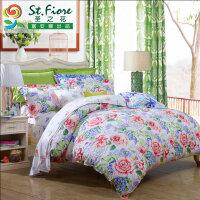 富安娜家纺出品 圣之花纯棉印花四件套全棉床上用品套件恰逢花开