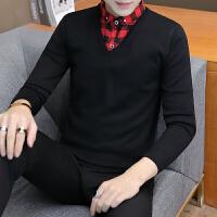 冬季假两件毛衣男青年衬衫领针织衫韩版加绒加厚带领保暖打底衫潮