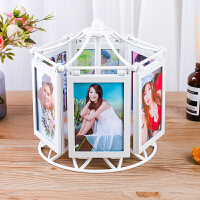 创意实用DIY手工定制照片相册相框摆台婚纱照结婚生日礼物女生 木马旋转相框 6张装