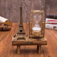 客厅摆件玄关摆件卧室摆件巴黎铁塔摆件欧式复古巴黎埃菲尔铁塔旋转沙漏计时器工艺品摆件Zd 古铜色