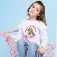 【领卷:59元选3】加菲猫童装女童长袖T恤中大童淑女打底衫体恤GUW17558