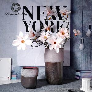 玻璃花瓶简约现代彩色手工摹刻花纹假花插花器家居工艺摆件