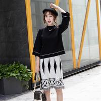 套装 女士半高领九分袖针织衫套装2019年秋季新款韩版时尚女式休闲女装针织衫流苏半身裙两件套
