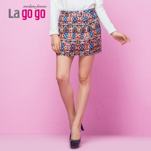 Lagogo新款印花半裙民族风高腰修身包臀短裙女A字百搭显瘦半身裙