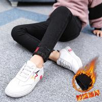 女童打底裤装加厚2017新款韩版中大儿童装棉裤弹力牛仔裤子加绒 黑色 字母