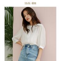 【3折到手价:78元】爱客白色花边衬衫女2019夏季新款时尚珍珠扣百搭上衣