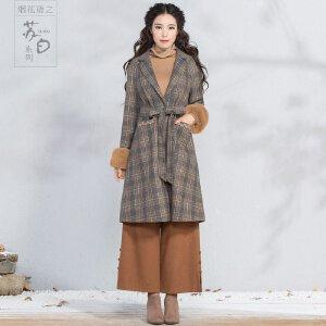 烟花烫2018冬新款女装格子腰带中长毛呢外套 牧之