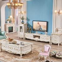 欧式全实木雕几大理石面茶几电视柜组合美式白色描金客厅新款 整装
