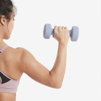 Keep 浸塑哑铃 男士女士家用家庭健身肌肉塑形瘦手臂轻重量 岩石灰4kg*2(一对装)